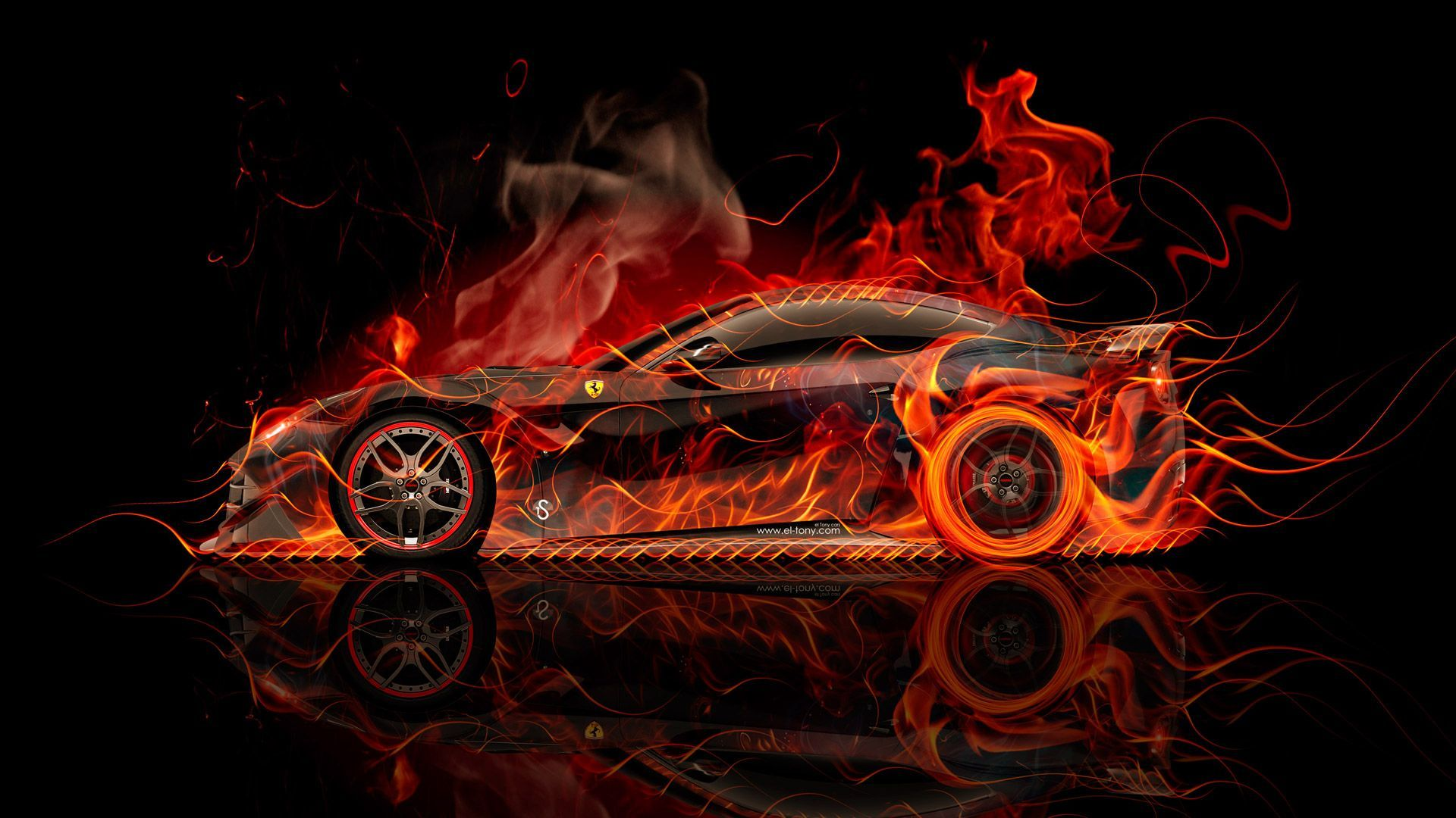 Bon Ferrari F12 Berlinetta Side Super Fire Abstract Car 2015 « El Tony