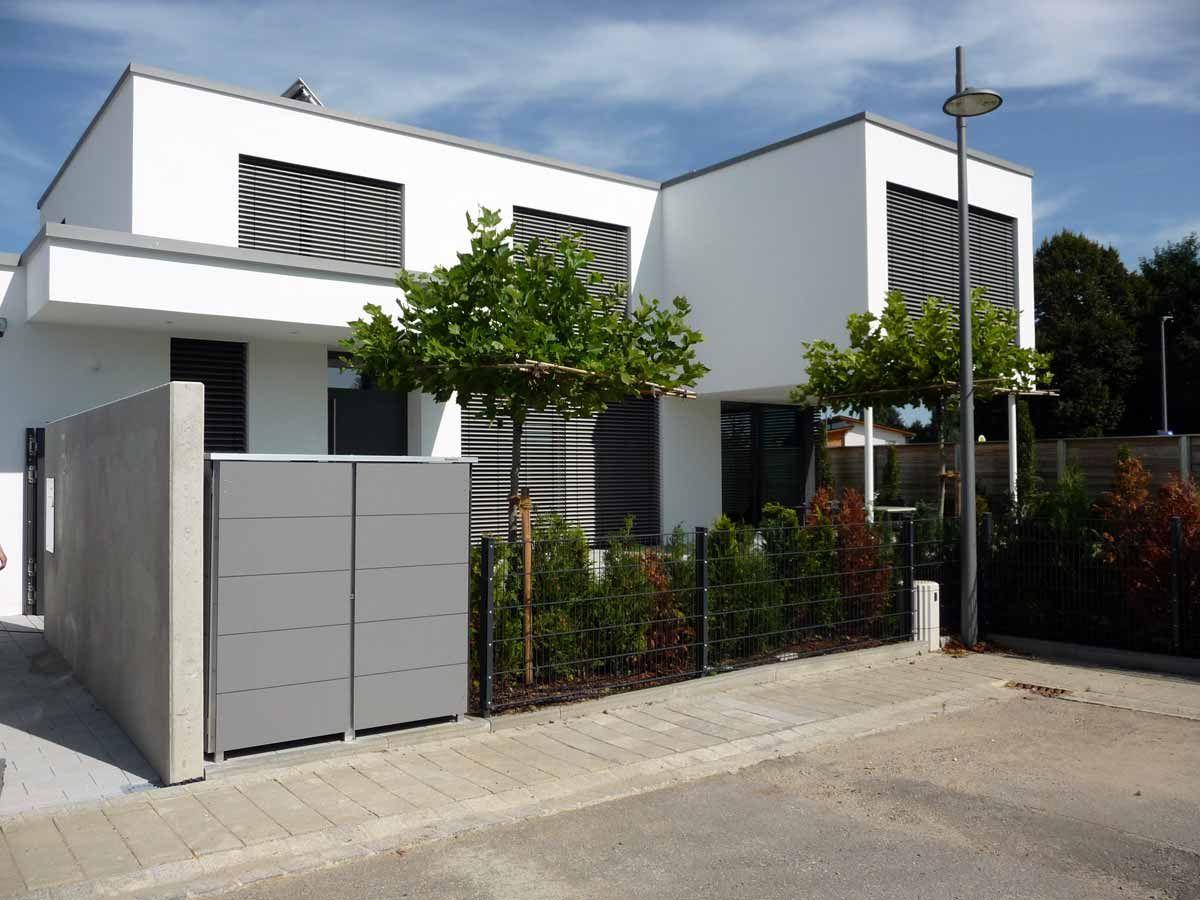 müllboxen zu moderner architektur aus wetterfestem trespa hpl