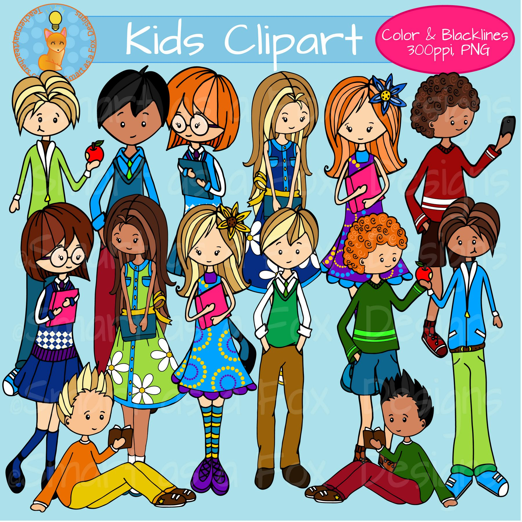 middle school kids clipart personal and commercial use | clip art