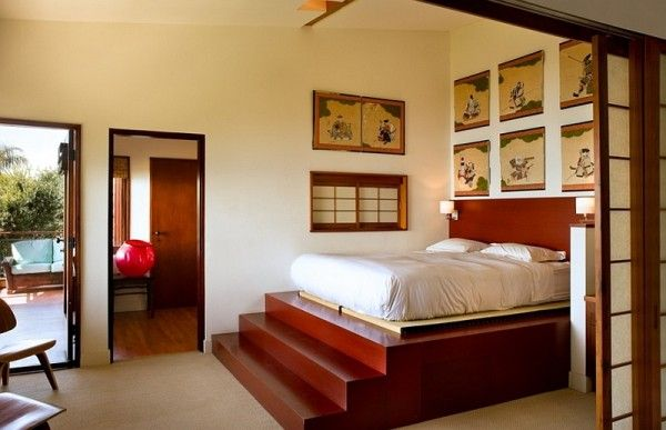 Relaxing Japanese style master suite with a balcony | asian ...