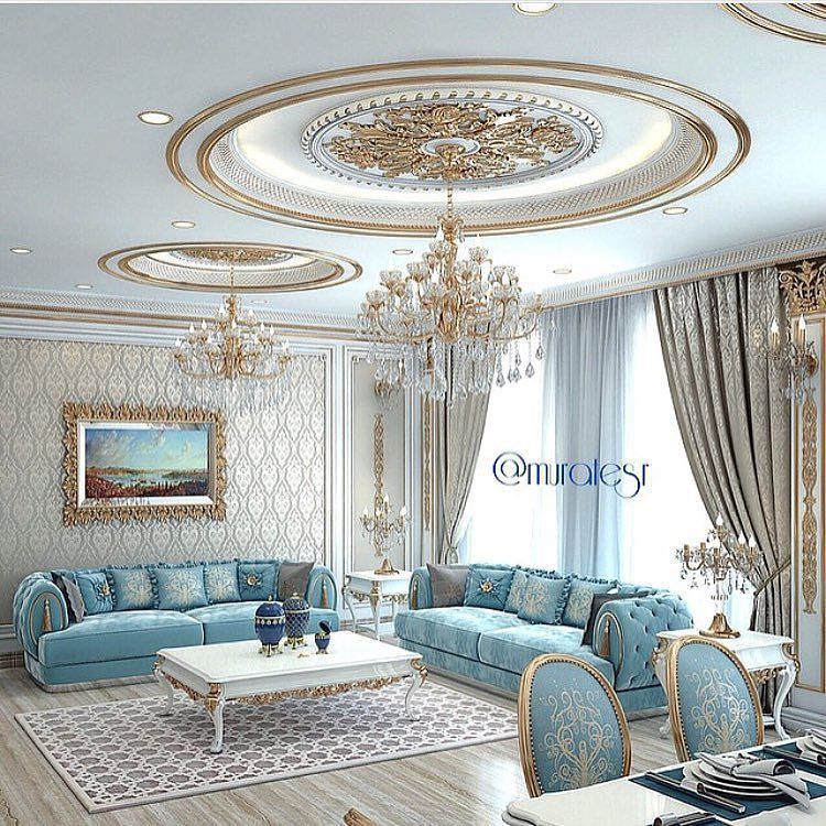 38 Elegant Living Rooms That Are Brilliantly Designed: Quite An Elegant Sitting Room With Light Blue And Gold