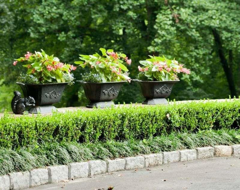 Große Pflanzkübel aus Metall im formal gestalteten Garten | Green ...