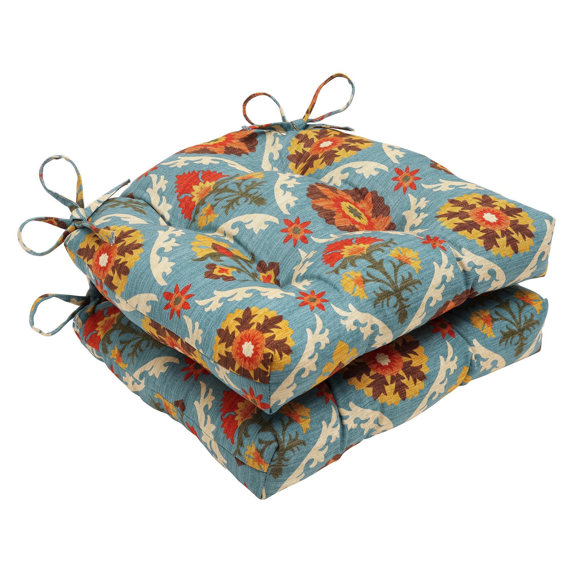 Blue mayan medallion reversible chair pad set of