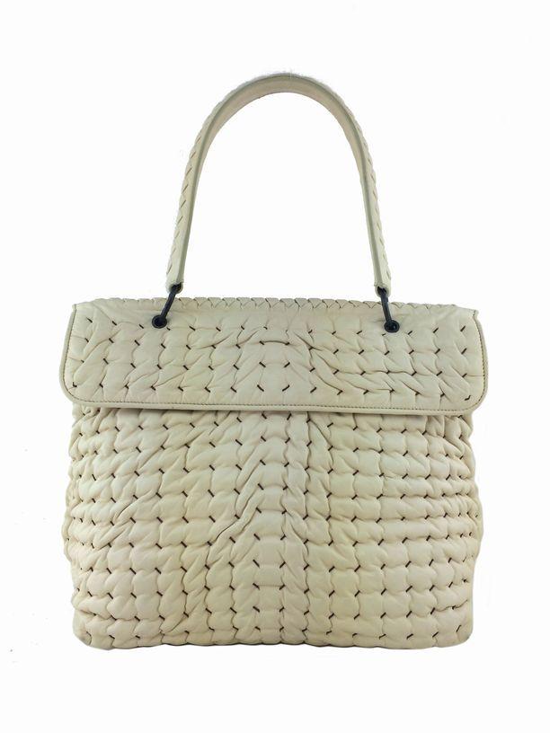 Consigned Designs Bottega Veneta Handbags Ivory Woven Bubble