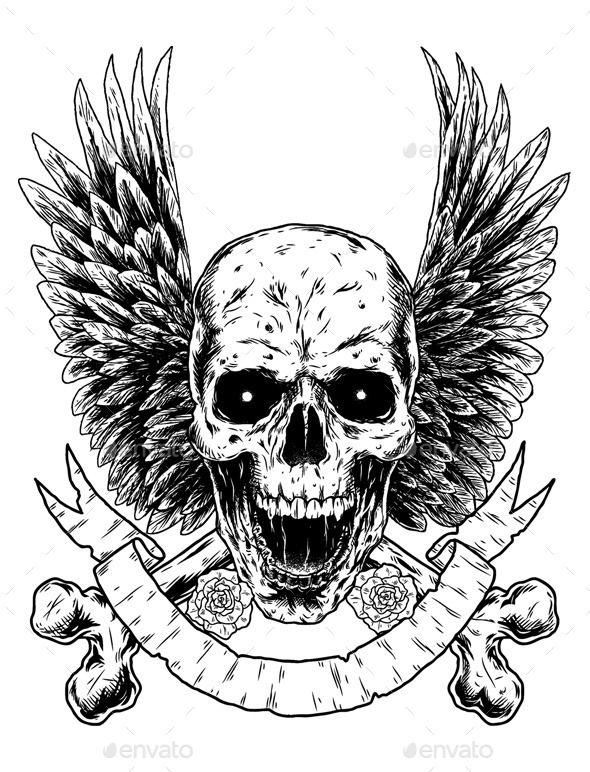 Skull Crossbones with Wings | Fonts-logos-icons | Skull, Skull
