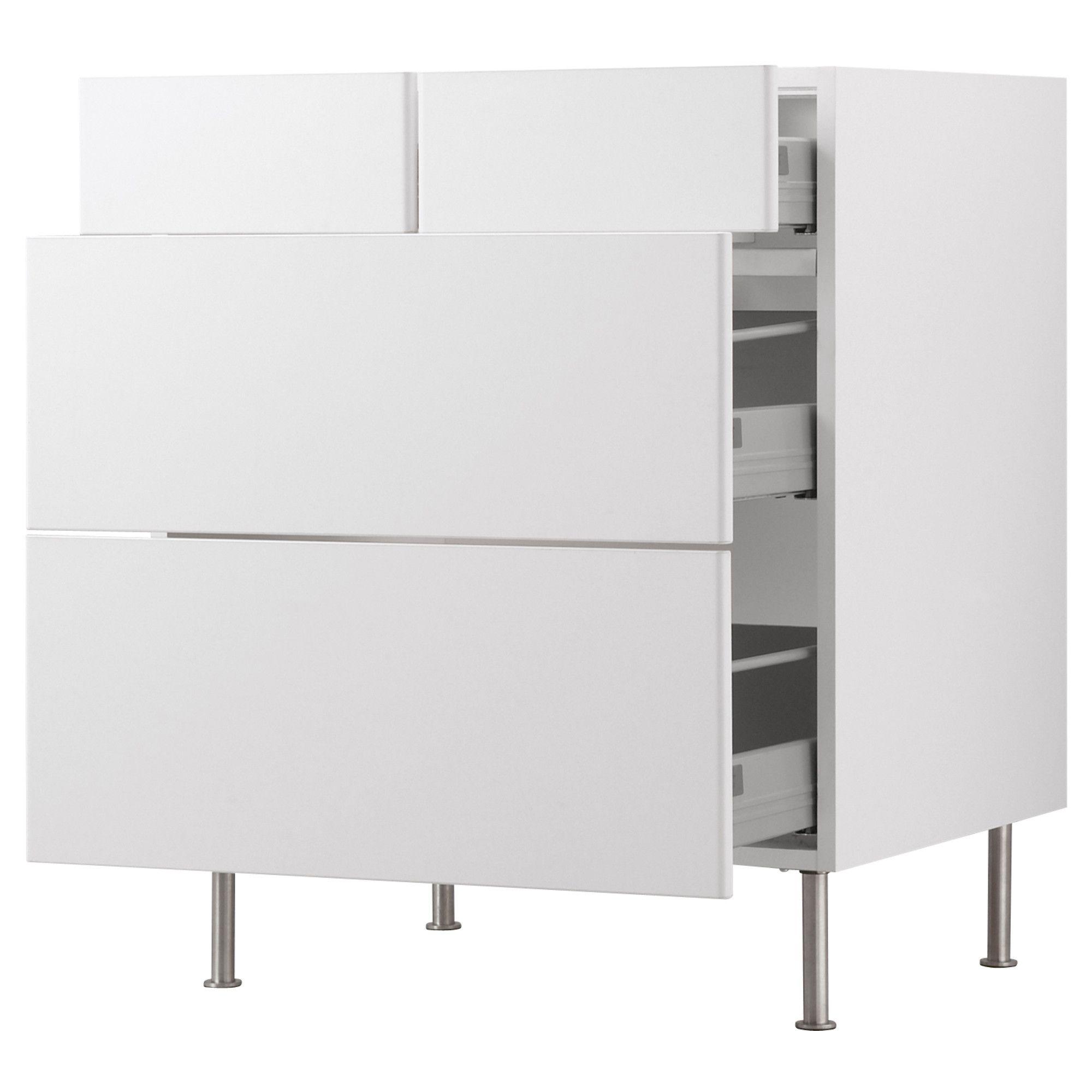 kitchen base cabinet. akurum base cabinet with 2+2 drawers - white