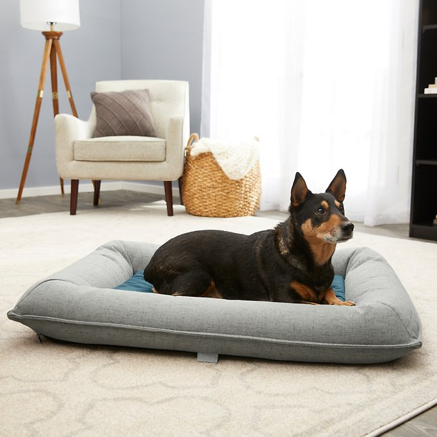 Buy Frisco Orthopedic Bolster Dog Bed W Removable Cover Harbour Blue X Large At Chewy Com Free Shipping And The Best Cu Bolster Dog Bed Dog Bed Dog Cushions Dog beds with removable covers