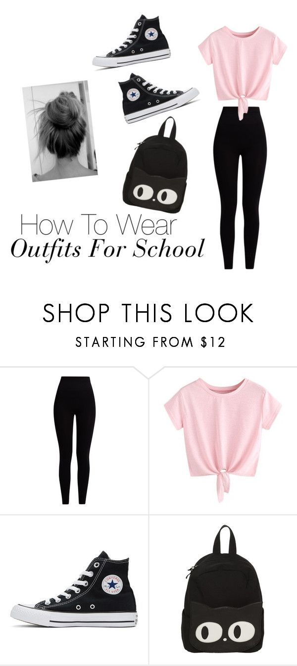 How To Wear Outfits For School by gussied-up on Polyvore featuring Pepper & Mayne and Converse #outfits4school