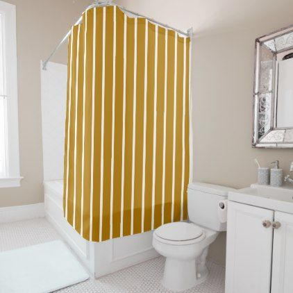 gold and white striped shower curtain. Gold and White Stripes Shower Curtain  stripes gifts cyo unique style Striped shower curtains