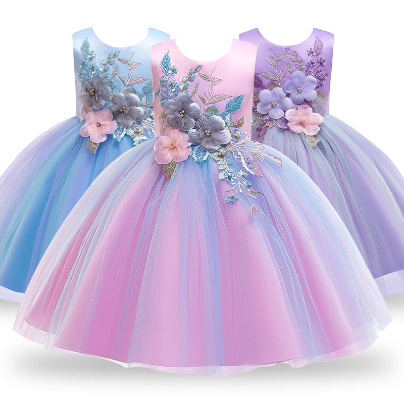 Baby Embroidered Formal Princess Dress for Girl Elegant Birthday Party Dress Girl Dress Baby Girl Christmas Clothes 2-14 Years #babygirlpartydresses