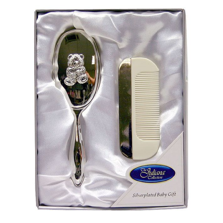 Teddy Design Silver Plated Baby Brush Amp Comb Set