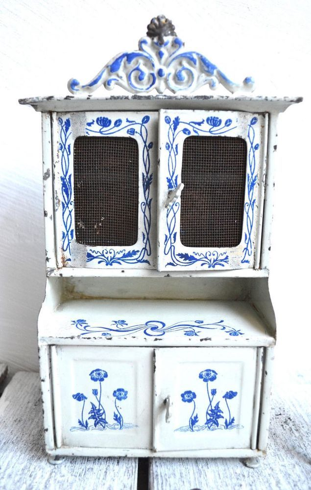 Antique German Kitchen Tin Furniture Blue White Floral Miniature Various Pieces Ebay German Kitchen Blue And White Childrens Tea Sets