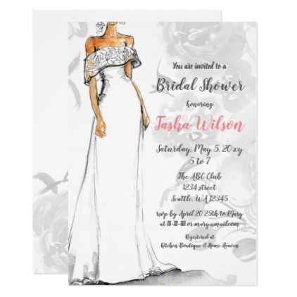 Designer Wedding Dress Elegant Bridal Shower Invitation Zazzle Com Wedding Dress Bridal Shower Dress Bridal Shower Invitations Unique Bridal Shower Invites