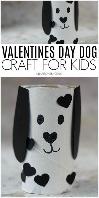 Cute Dog Valentines Day Toilet Paper Roll Craft