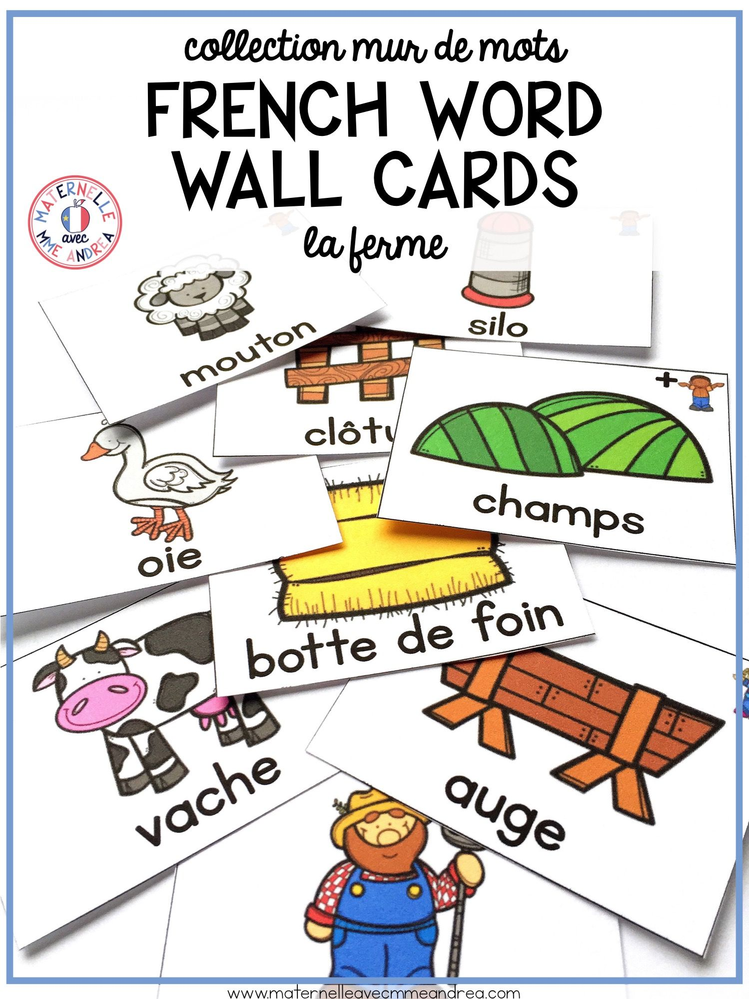 French Farm Vocabulary Cards Cartes De Vocabulaire