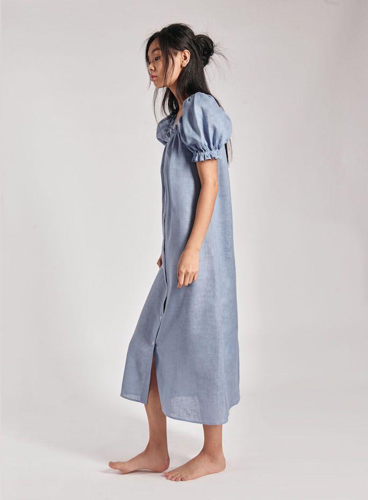 308d0fb36c0 Sleeper Brigitte Blue Linen Maxi Dress – Sleeper