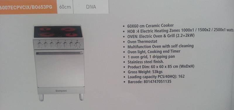 Bompani Cooker Bo653pg Ceramic Cooker Multifunction