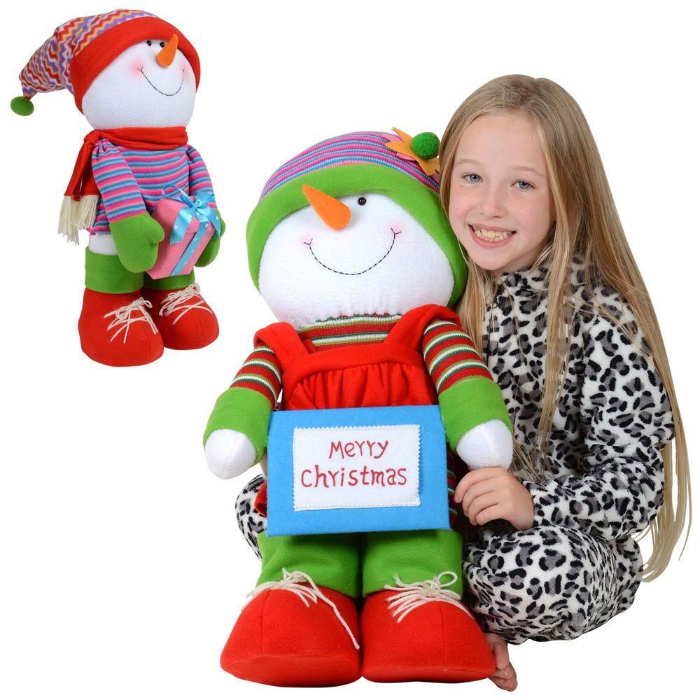 Cute 61cm Soft Body Standing Girl Or Boy Snowman Festive Christmas Decoration #Sparkles