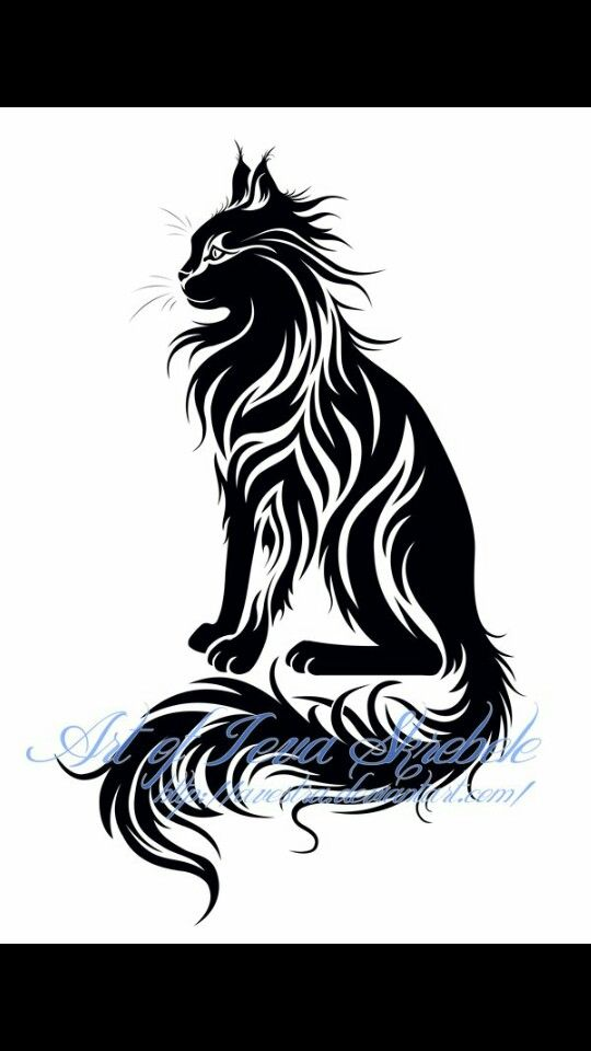 Tribal Maine Coon Tattoo Ink Ideas Cat Tattoo Cat Tattoo