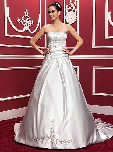 A-line/Princess Strapless Court Train Satin 2015 Wedding Dress