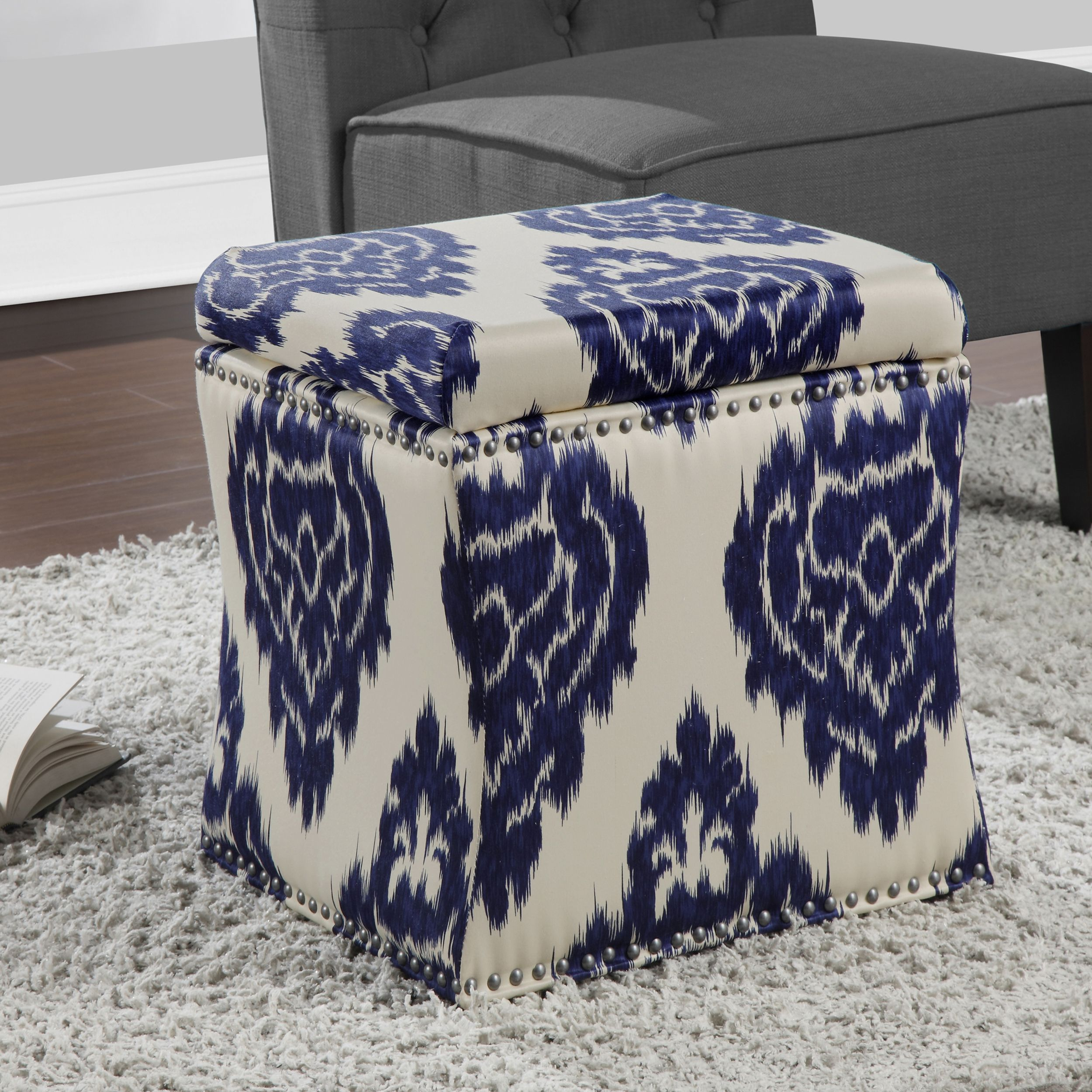 Exceptionnel Curved Indigo Ikat Storage Ottoman   Overstock™ Shopping   Great Deals On  Ottomans