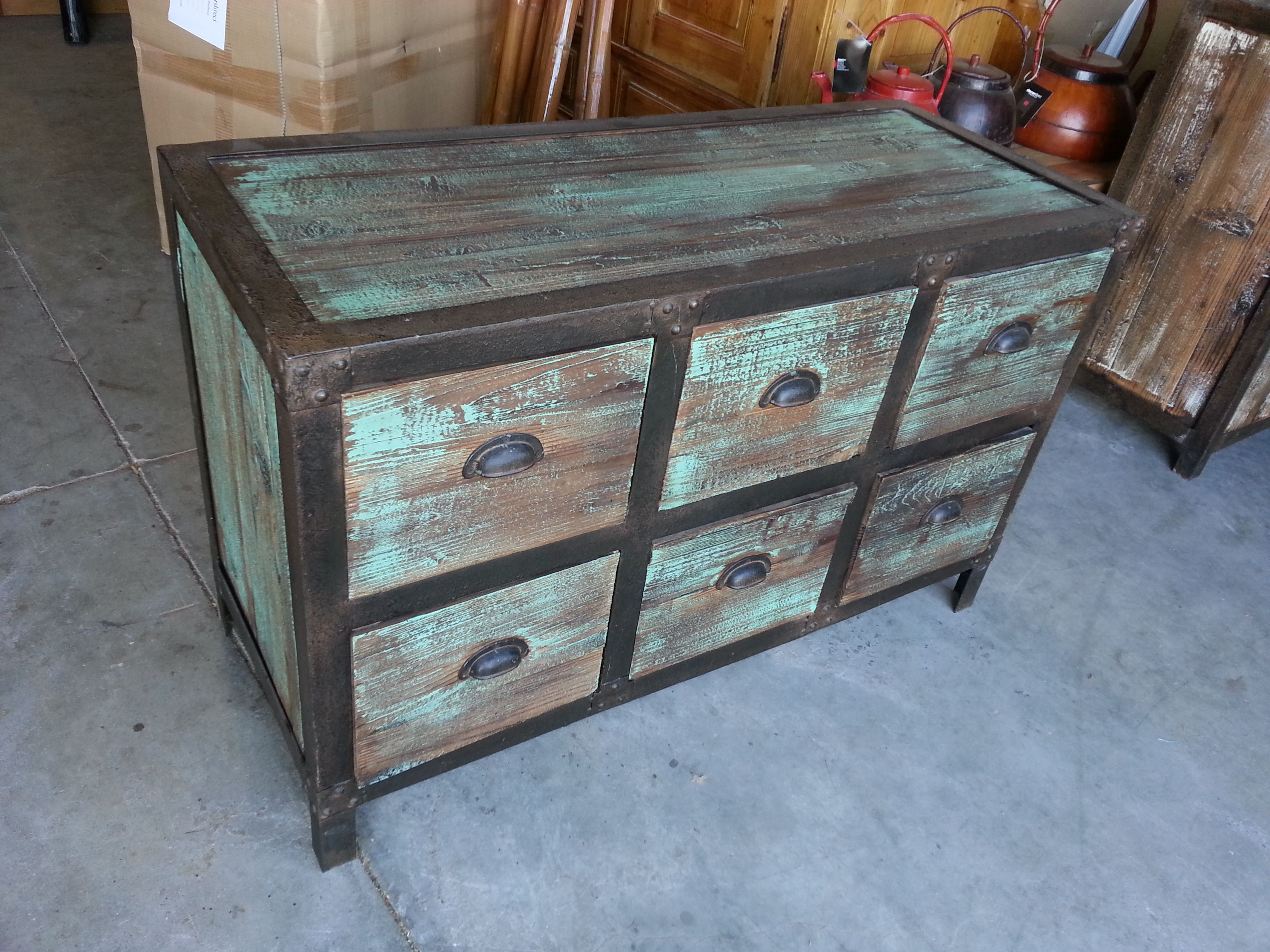 industrial 6 drawer dresser shabby chic blue green distressed finish with metal on reclaimed. Black Bedroom Furniture Sets. Home Design Ideas