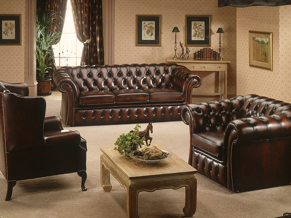 Gladbury Traditional Leather Sofa Available In 4 Seater, 3 Seater, 2 Seater  And Chair Versions.