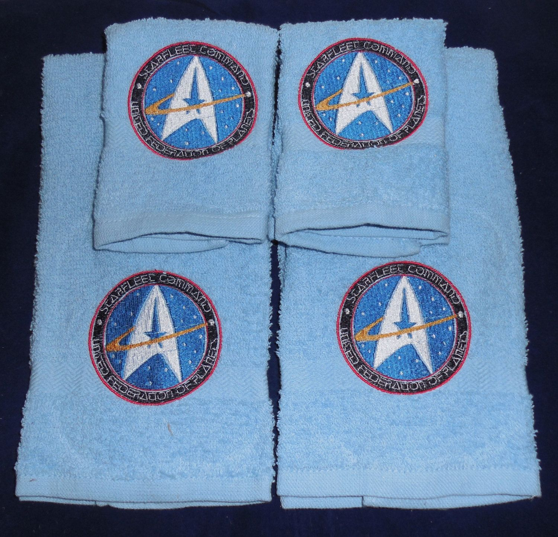 Embroidered star trek towel washcloth set geekery nerdy