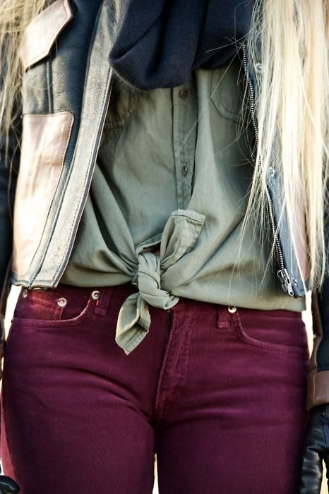 Wine Colored Skinny Jeans
