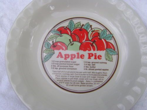 SUNNYCRAFT APPLE PIE RECIPE PLATE VINTAGE PLATE 11 INCHES - Great Bakers Pie Plate with Recipe & SUNNYCRAFT APPLE PIE RECIPE PLATE VINTAGE PLATE 11 INCHES - Great ...