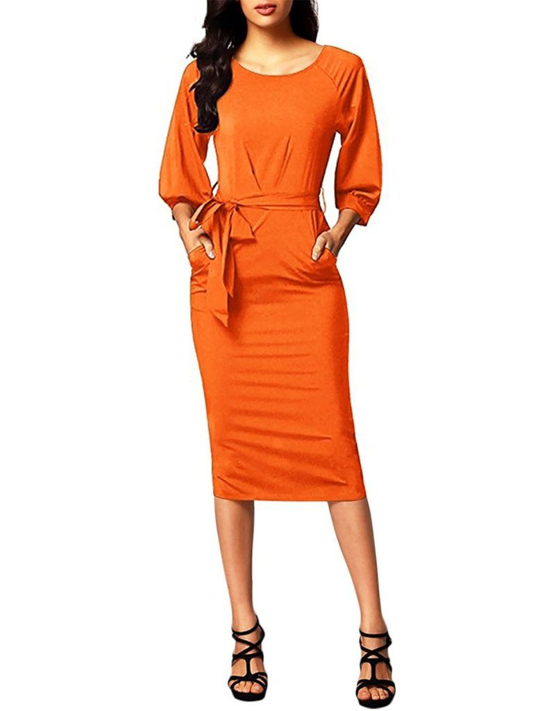 Hnnatta Women S 3 4 Sleeve Casual Pocket Business Wear To Work Bodycon Pencil Dress With Belts Shop2online Best Woman S Fashion Products Designed To Provide Business Casual Outfits For Women Casual [ 1024 x 788 Pixel ]