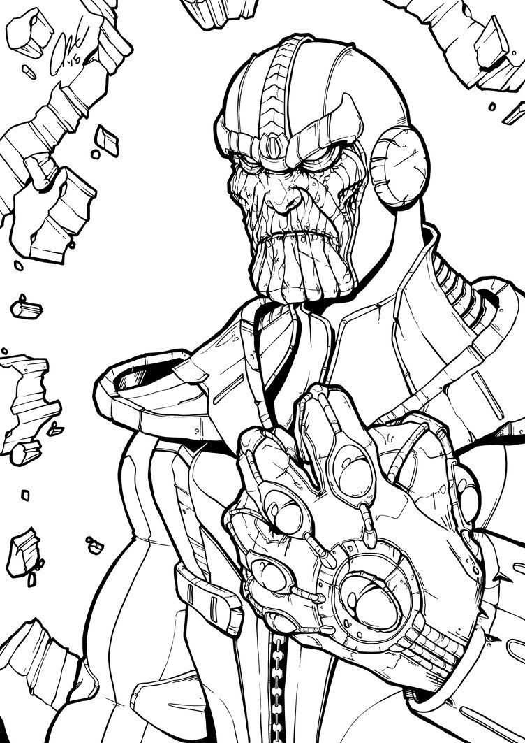 Thanos Infinity Gauntlet Line Art By Illustrationoverdose