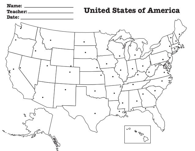 NameTeacher United States Of AmericaDate Children Pinterest - Blank us map with capitals