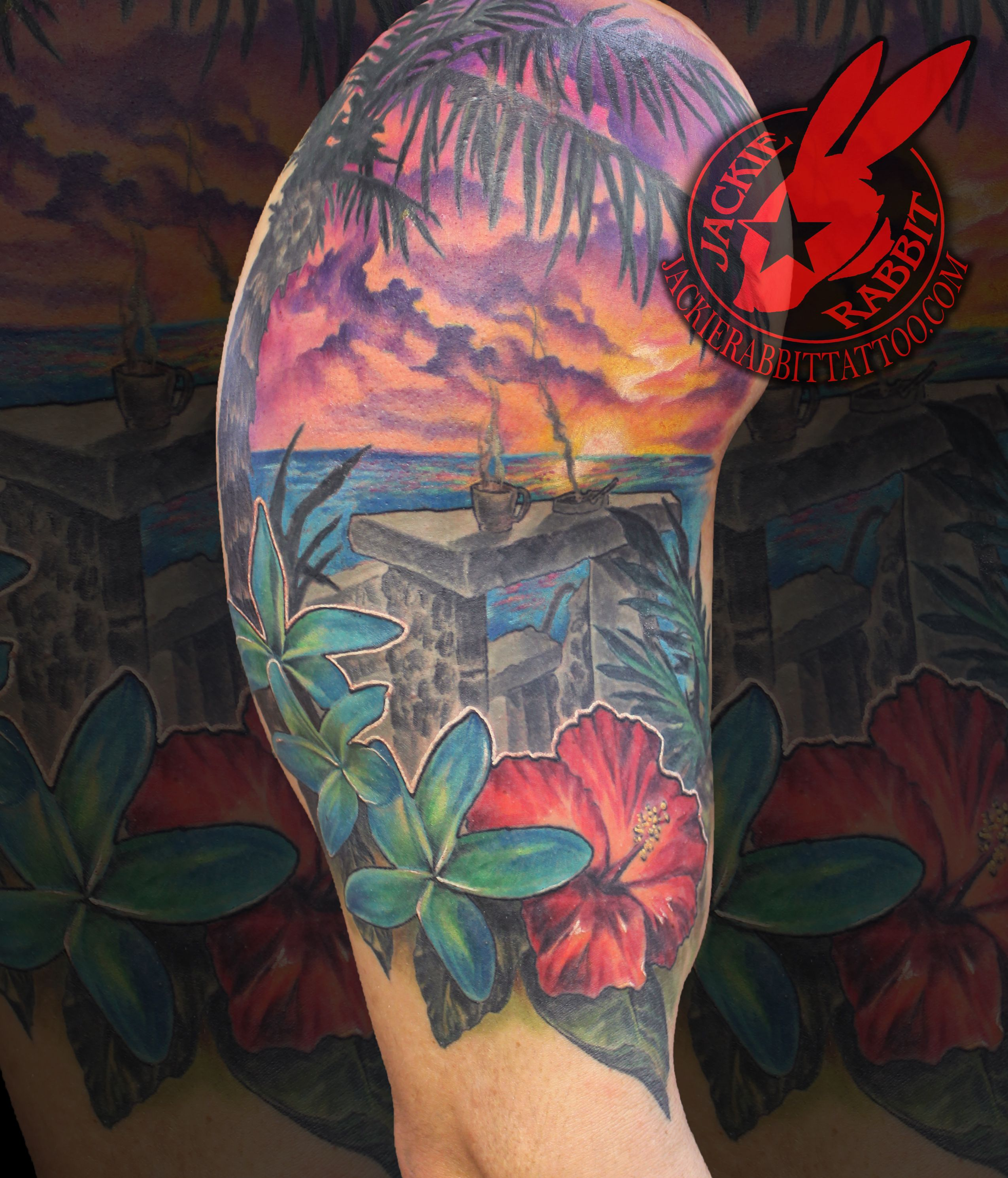 4fa46383ec435 Tropical beach sunset palm trees plumeria hibiscus flower best color ocean  waves Sleeve real realistic tattoo by jackie rabbit