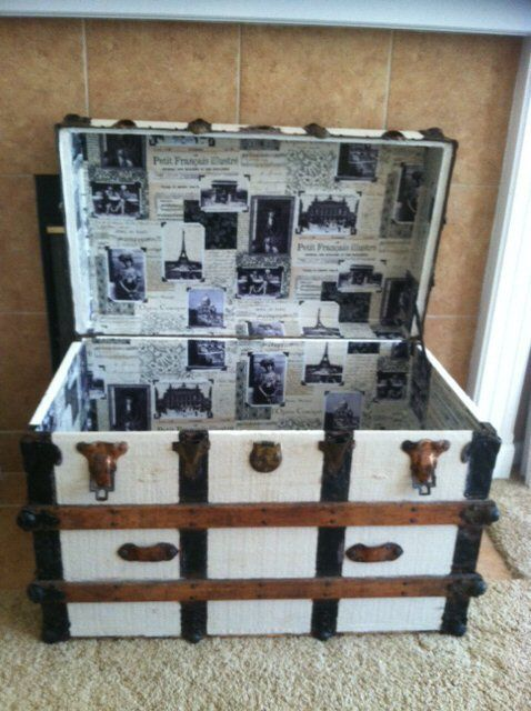 Painted Antique Steamer Trunk