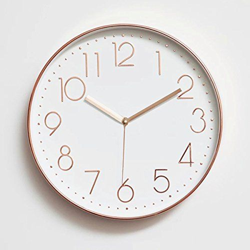 Foxtop 12 Inch Minimalist Silent Sweep Wall Clock With Su Gold Wall Clock Wall Clock Rose Gold Gold Clock