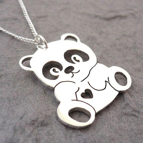 Kids Panda Parure de bijoux avec pendentif en forme de panda en argent v/éritable 925
