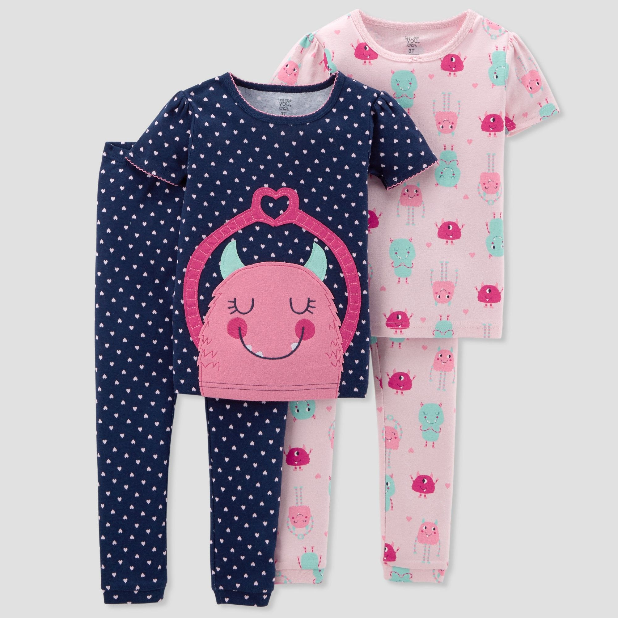 00b8a5ac81de Toddler Girls  4pc Cotton Monster Pajama Set - Just One You made by ...