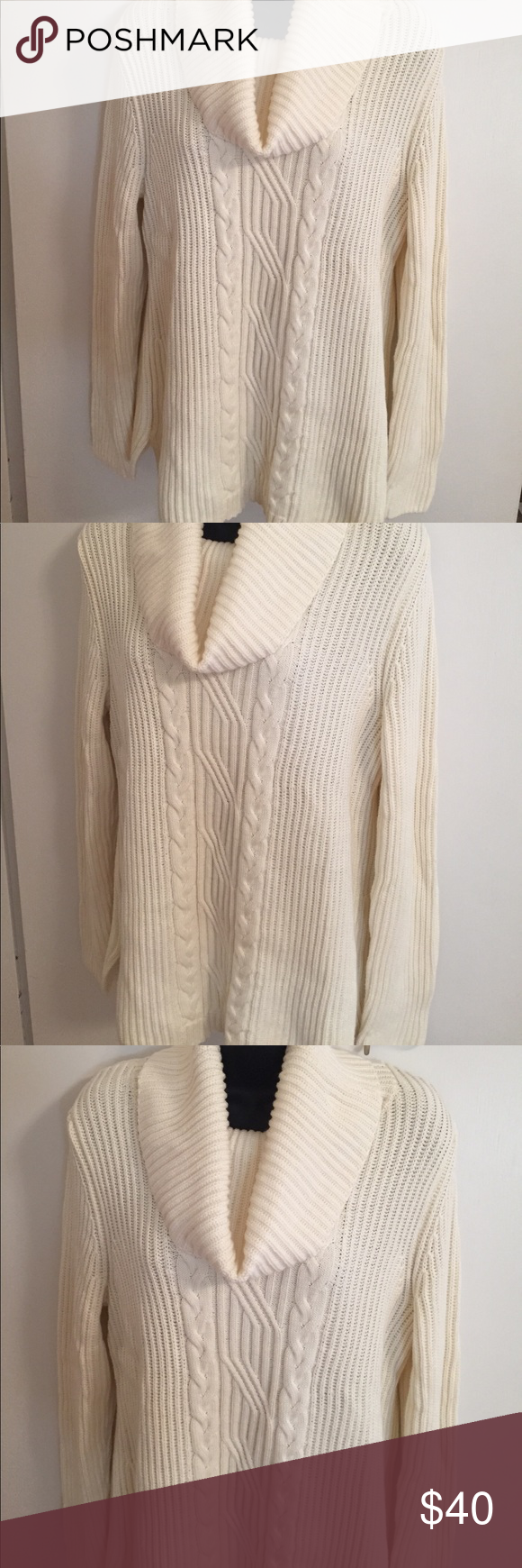 Talbots Cream Cable Knit Cowl Neck Sweater - NWOT | Knit cowl ...