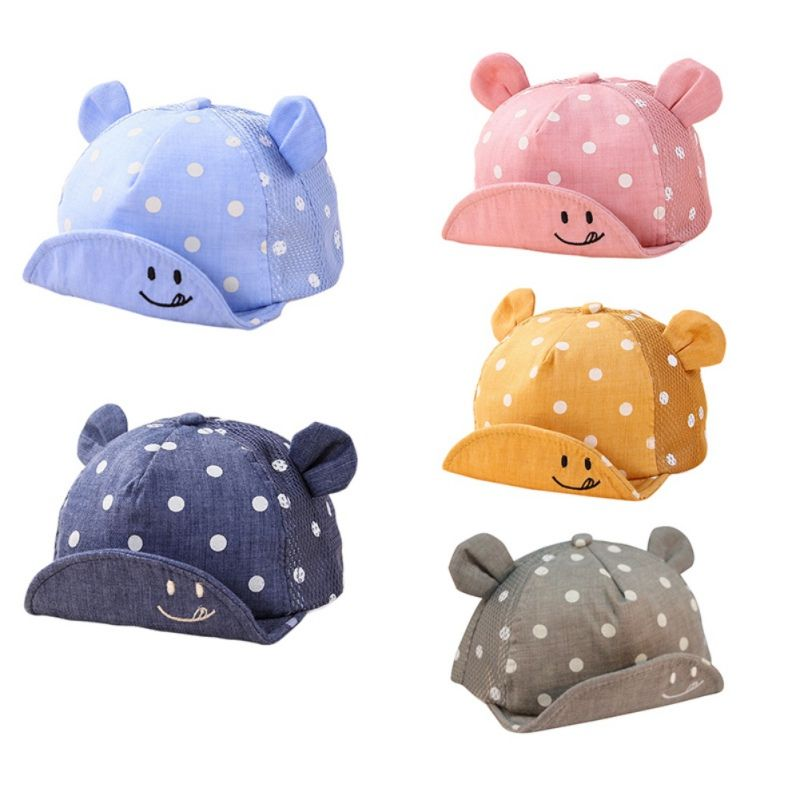0f22269b9f8 5 Colors Kids Newborn Toddler Baby Summer Breathable Caps Girl Boy Snapback  Cute Cap Dots Little Ear Fashion Hats  Affiliate