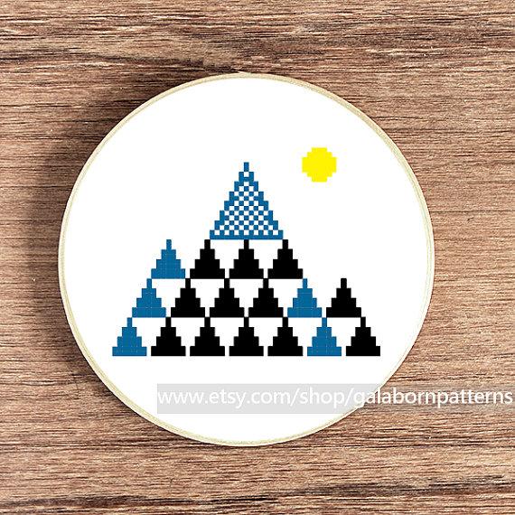 Counted cross stitch pattern PDF  Modern cross by galabornpatterns, $4.20