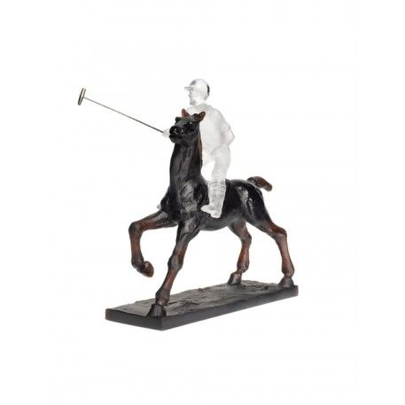 Black and White Polo Player from Animal Sculptures - Horse