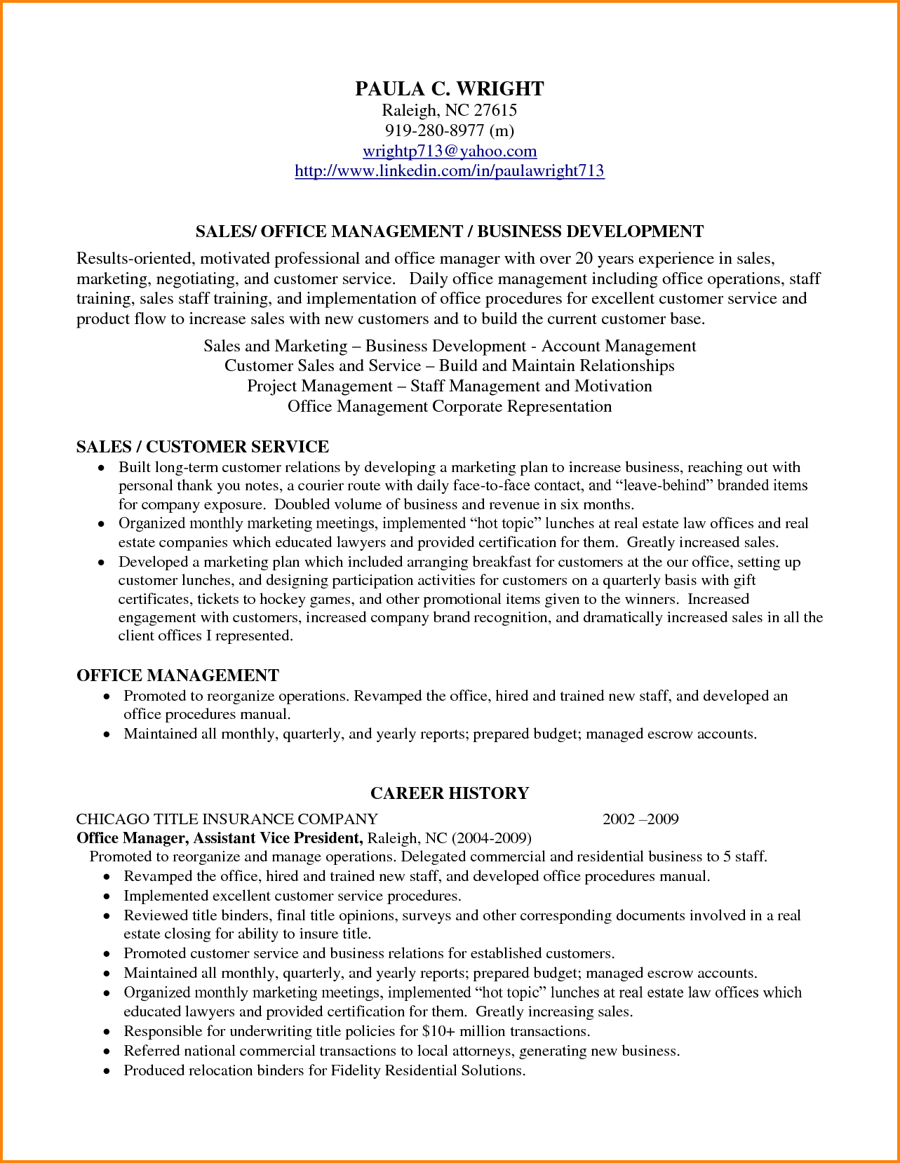 Profile Statement For Resume Examples Sample Accounting