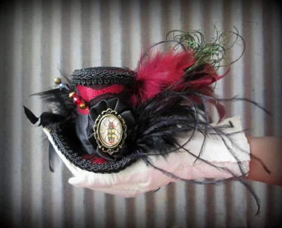 Red and Black Lace Beetle Cameo Steampunk Micro Mini by ChikiBird, $35.00