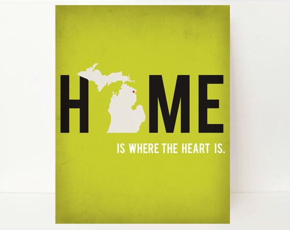 State Silhouette Print Michigan Home State Wall Art, 8x10, Home Is ...
