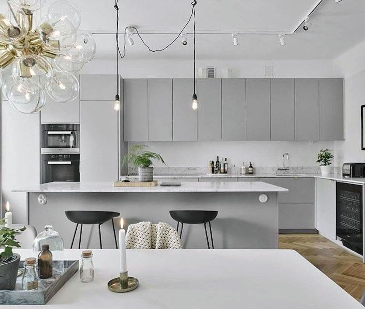 26 Gorgeous Scandinavian Kitchen With Grey Color Ideas In