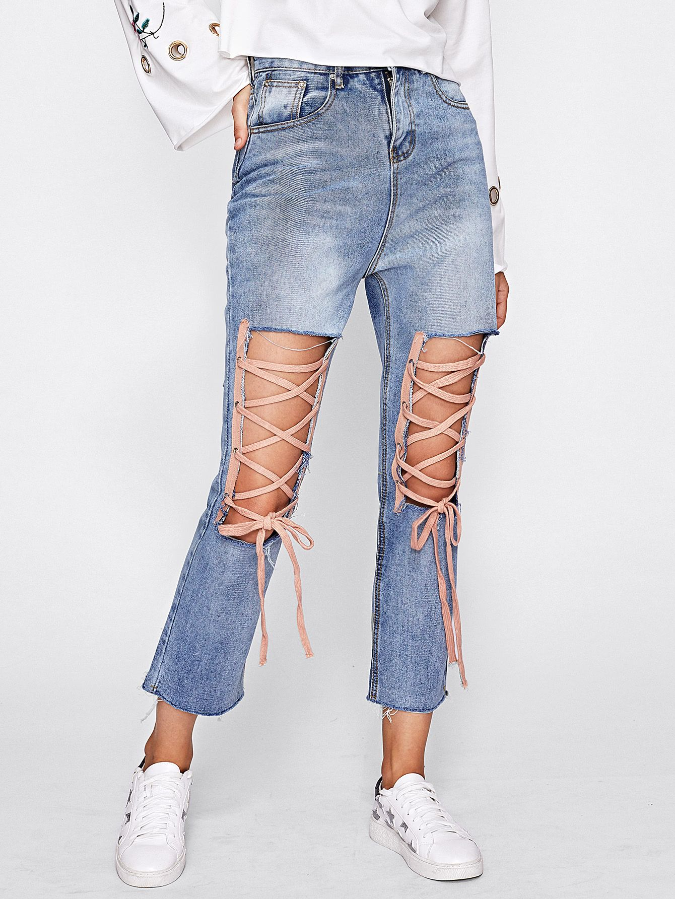 328eae5b42 Cut Out Front Lace Up Jeans -SheIn(Sheinside) | :: >> Just Landed ...