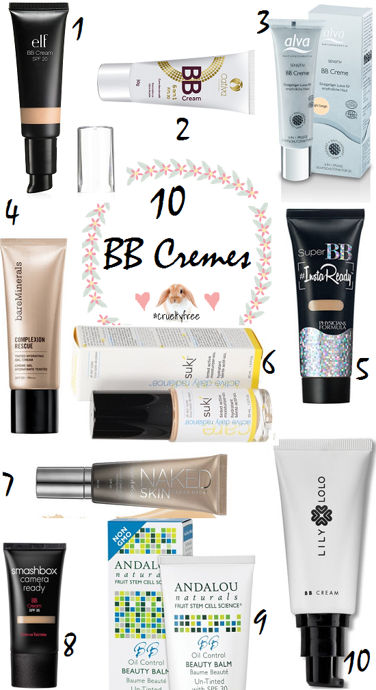 10 BB Crèmes CRUELTY free Post do dia 28/06/16