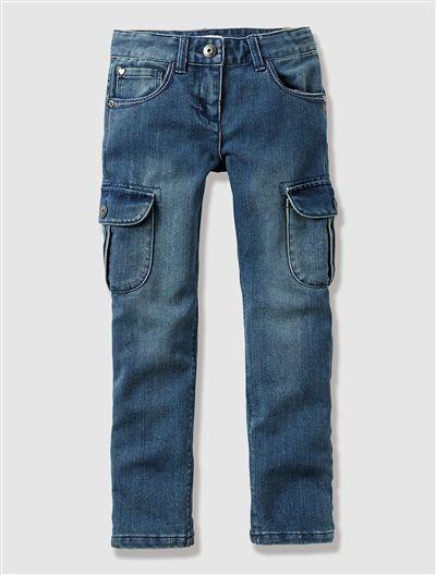 Girl's Indestructible Combat Jeans BLUE DARK SOLID - vertbaudet enfant