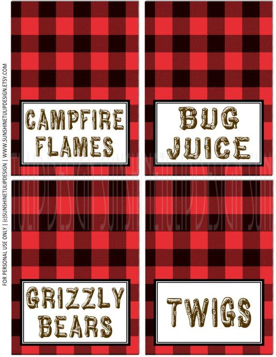 Camping Birthday Food labels, Printable Buffalo Plaid Food cards, Red and Black Table Tent Cards Lab